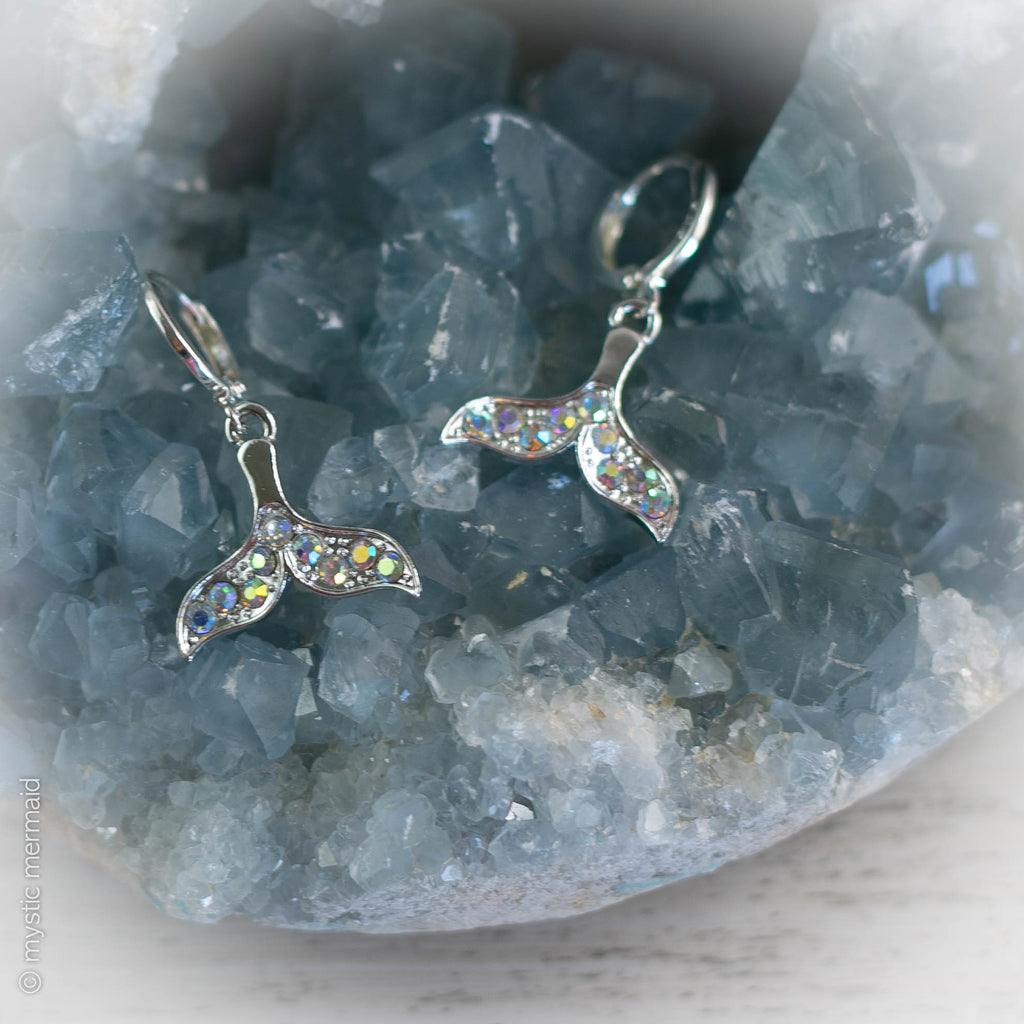 Flow Your Own Way Mermaid Tail 925 Sterling Silver Sleeper Leverback Earrings