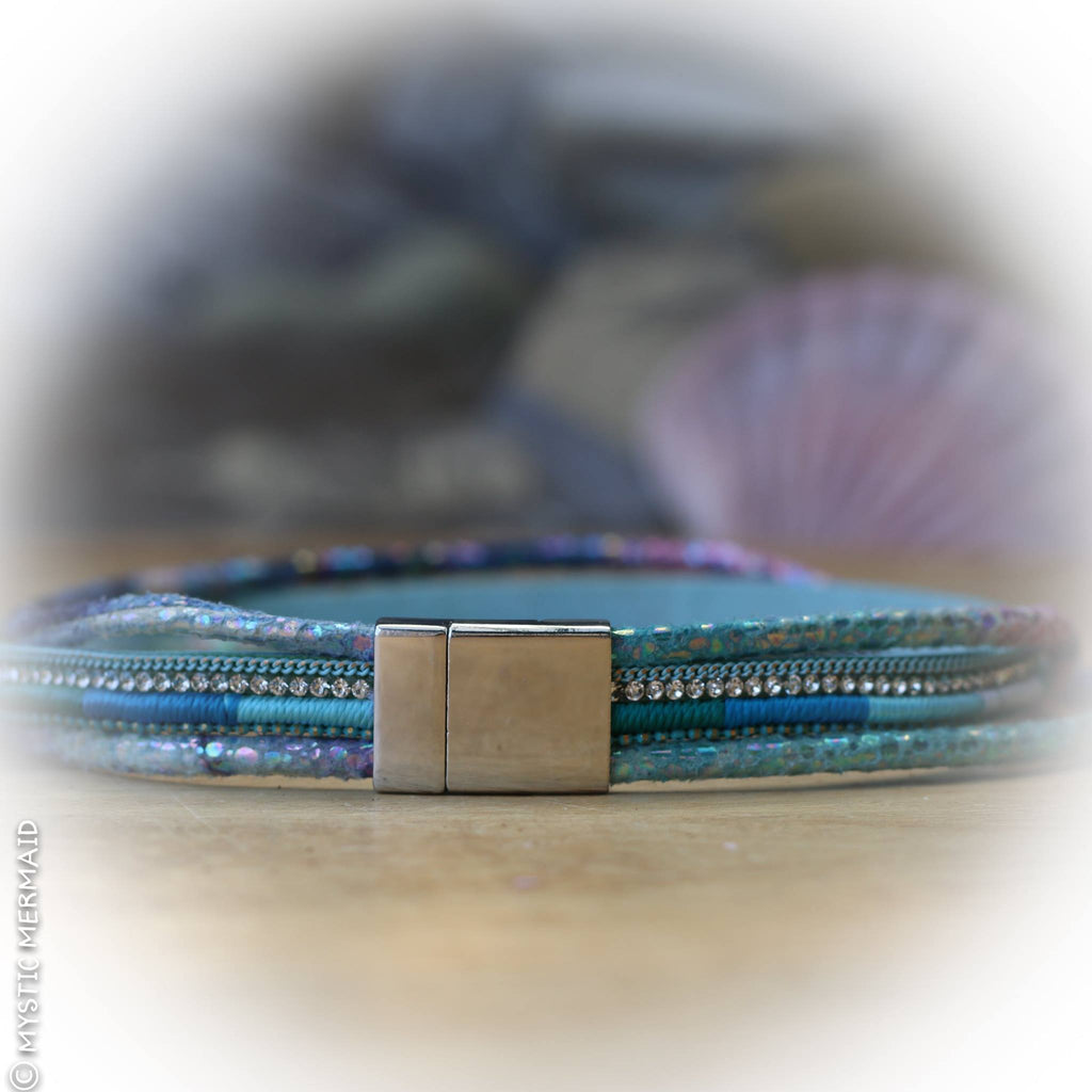 "Mermaid Sparkle Wrap Bracelet with Awesome ""Lock in"" Magnetic Clasp"