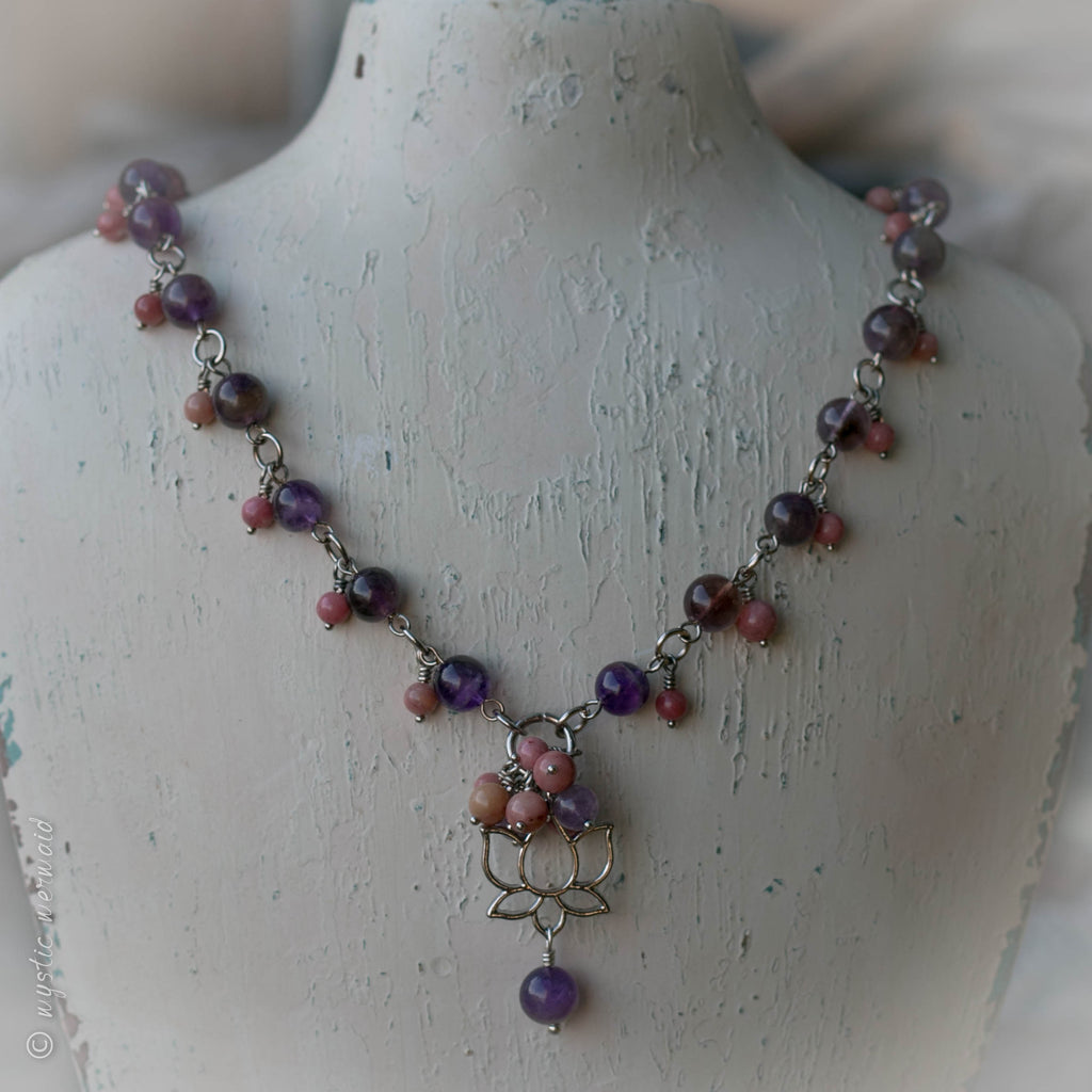 Rhodonite and Amethyst Lotus Flower Necklace