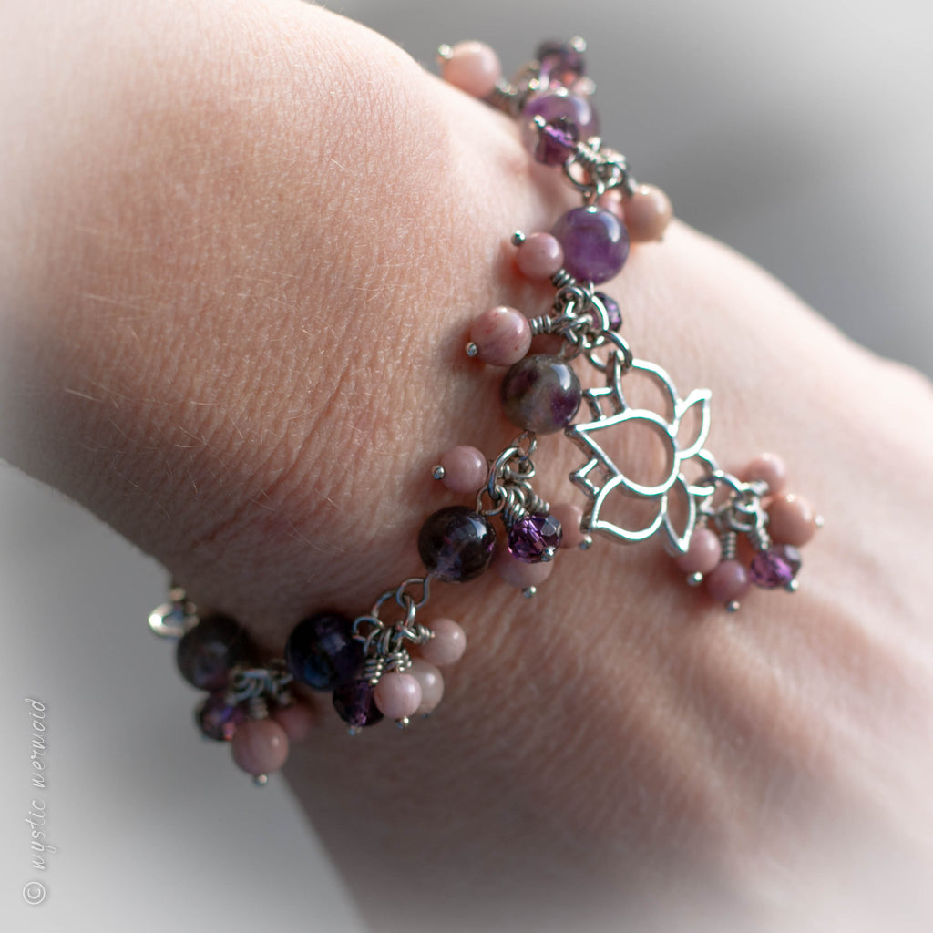 Rhodonite and Amethyst Lotus Flower Bracelet