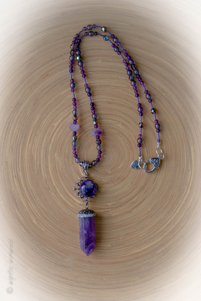 Long Amethyst Point Necklace with Treasured Treat Amethyst Feature