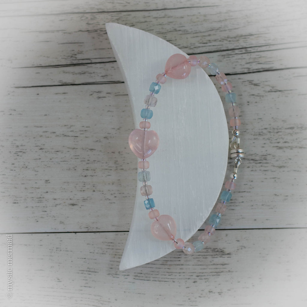 Angel Hearted Morganite, Aquamarine and Rose Quartz Bracelet