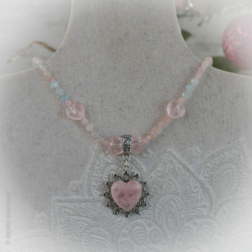 Angel Hearted Morganite, Aquamarine and Rose Quartz Necklace