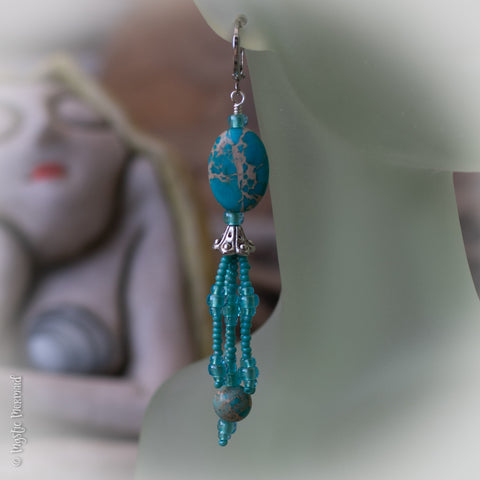 Ocean Dancer Sea Sediment Jasper & Czech Crystal 925 Sterling Silver Earrings