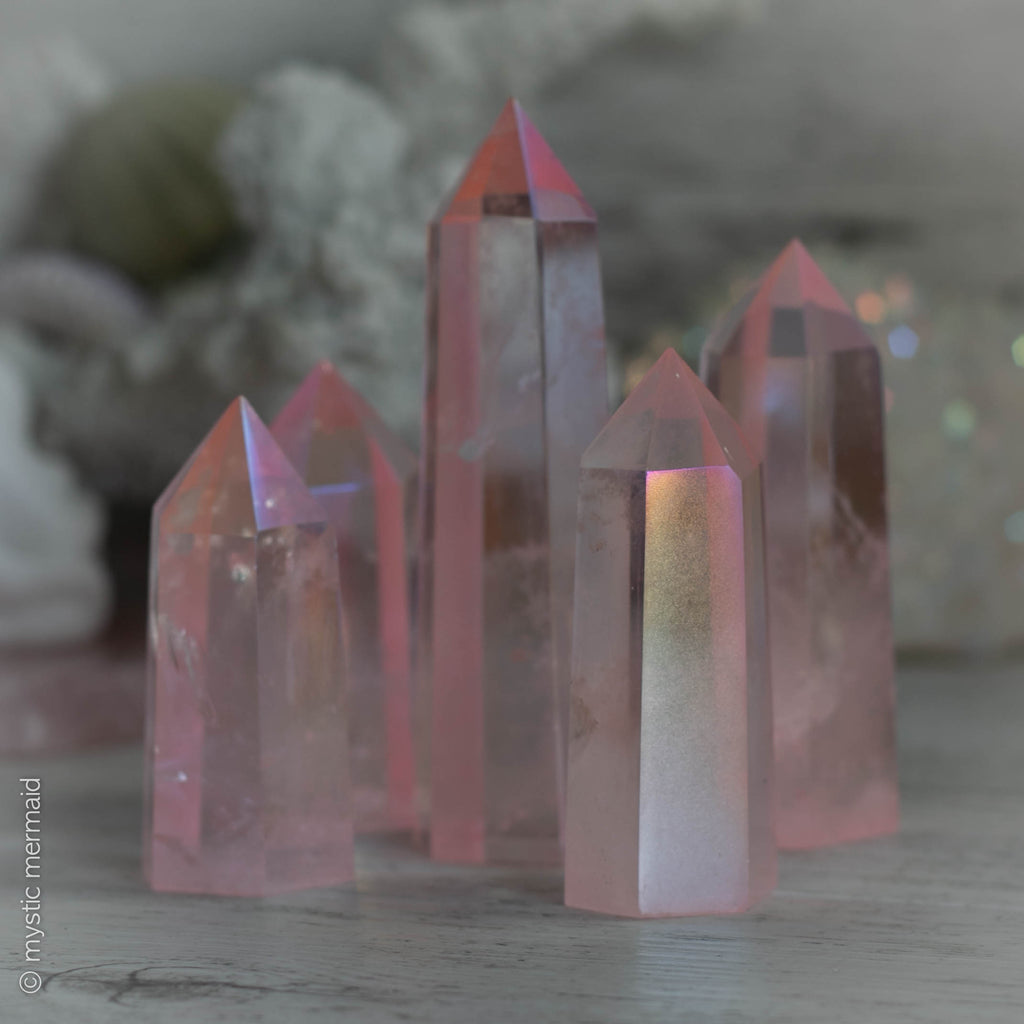 Pale Rose Pink Aura Clear Quartz Crystal Point
