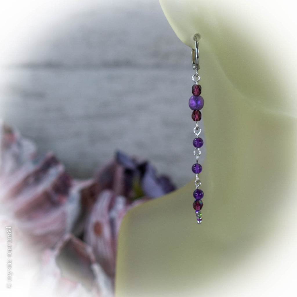 Purple Rain 925 Sterling Silver Sleeper Leverback Earrings