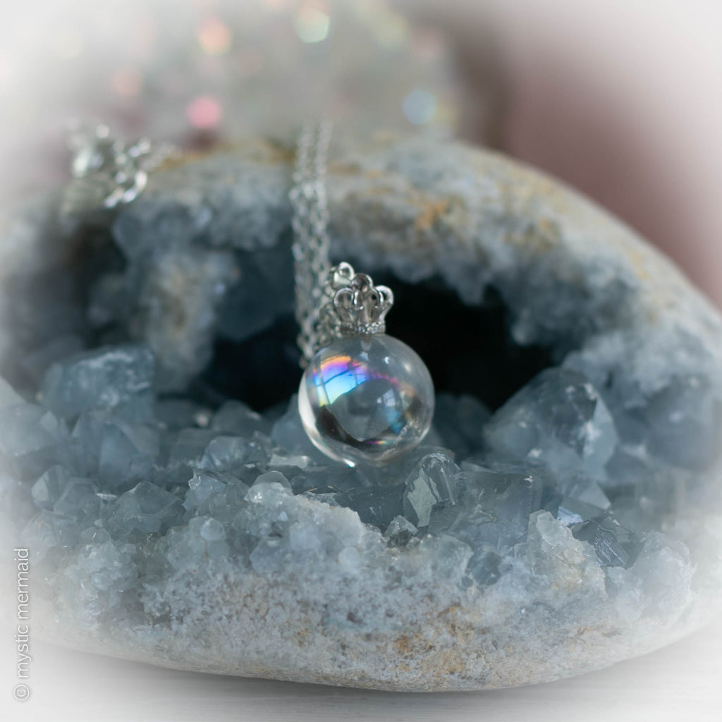 Clear Quartz Crystal Ball Necklace