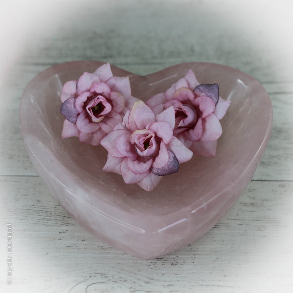 Rose Quartz Large Heart Crystal Bowl