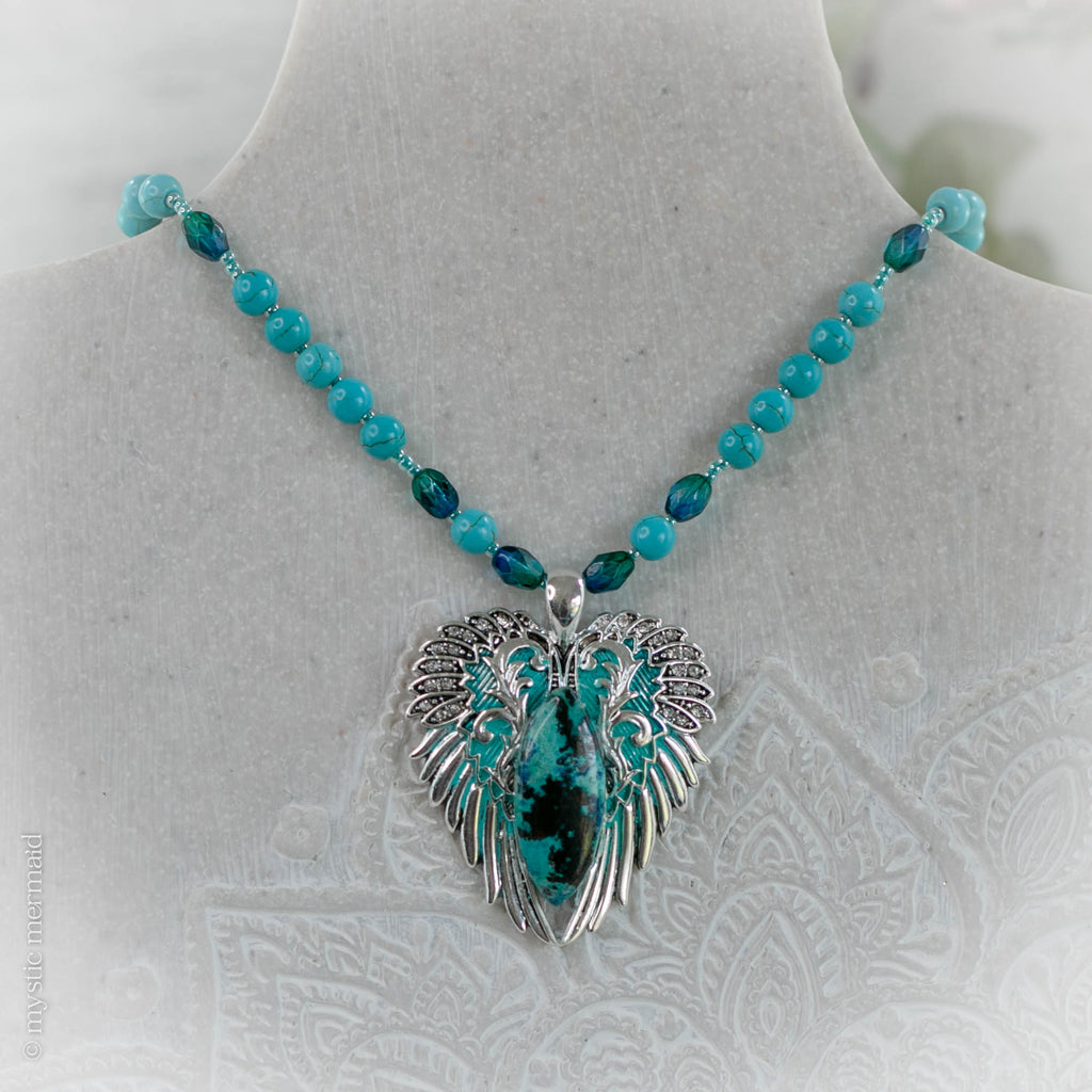 CUSTOM Angelic Dream Shattuckite Angel Wing Necklace