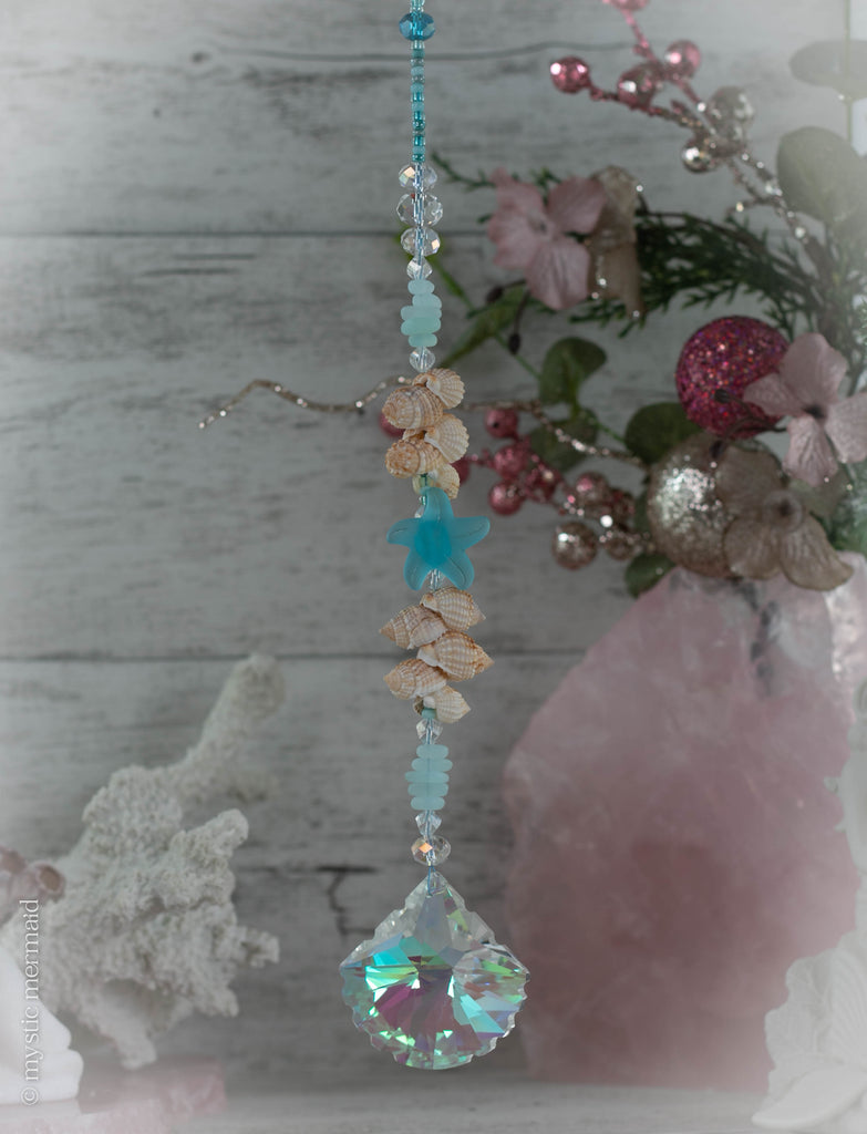 Starfish Wish SunCatcher with stunning Austrian Crystal Shell feature!