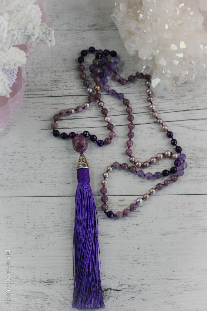 Instant Calm Lepidolite, Purple Agate, Frosted Amethyst and Genuine Pearl Silk Mala