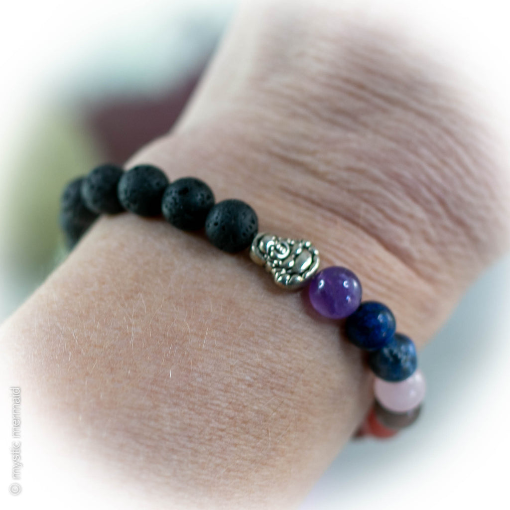 Buddha and Chakra lava stone and crystal bracelet