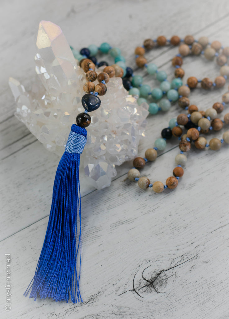 Ocean Walk 108 Bead Pure Silk Mala featuring Amazonite, Lapis Lazuli, Picture Jasper and Sodalite