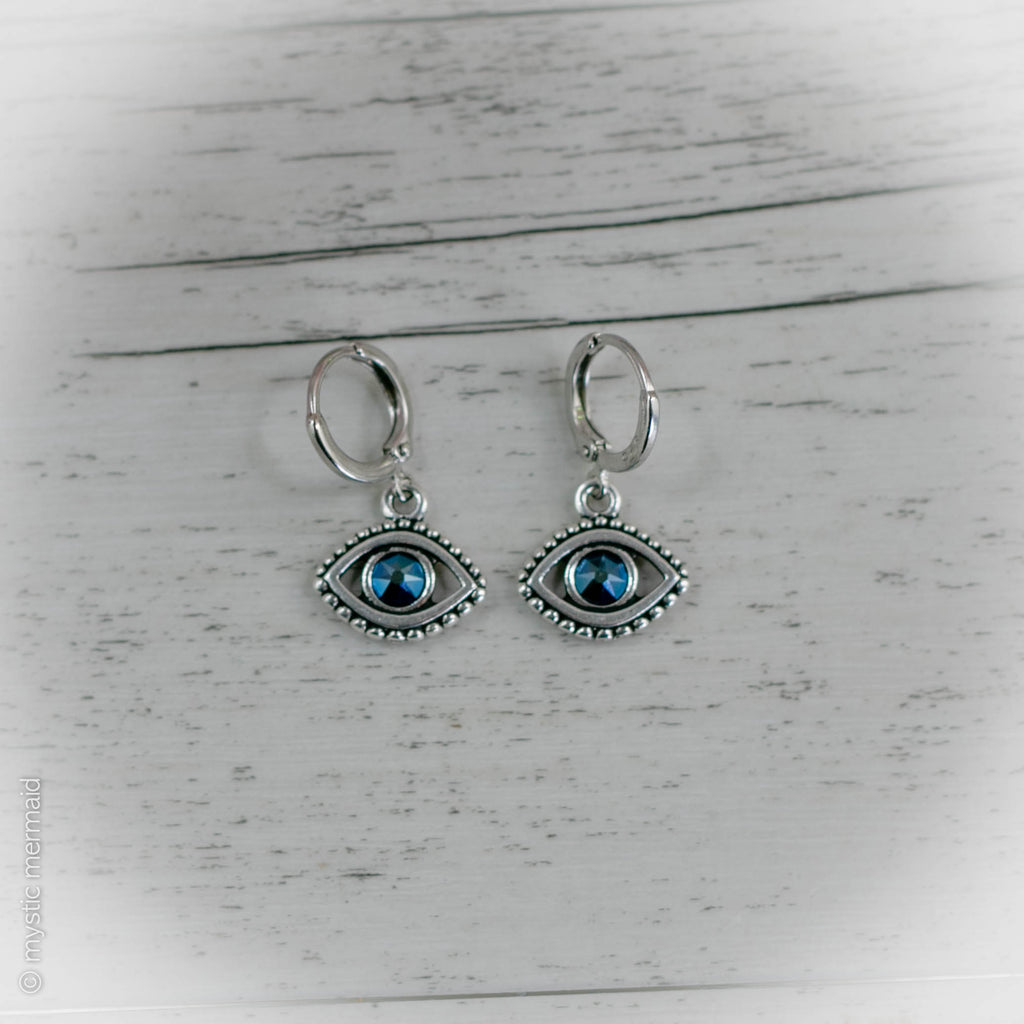 Evil Eye 925 Sterling Silver Sleeper Leverback Earrings