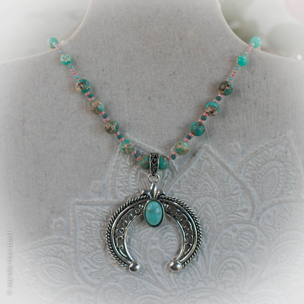 Turquoise Magnesite and Sea Sediment Jasper Crescent Horn Necklace