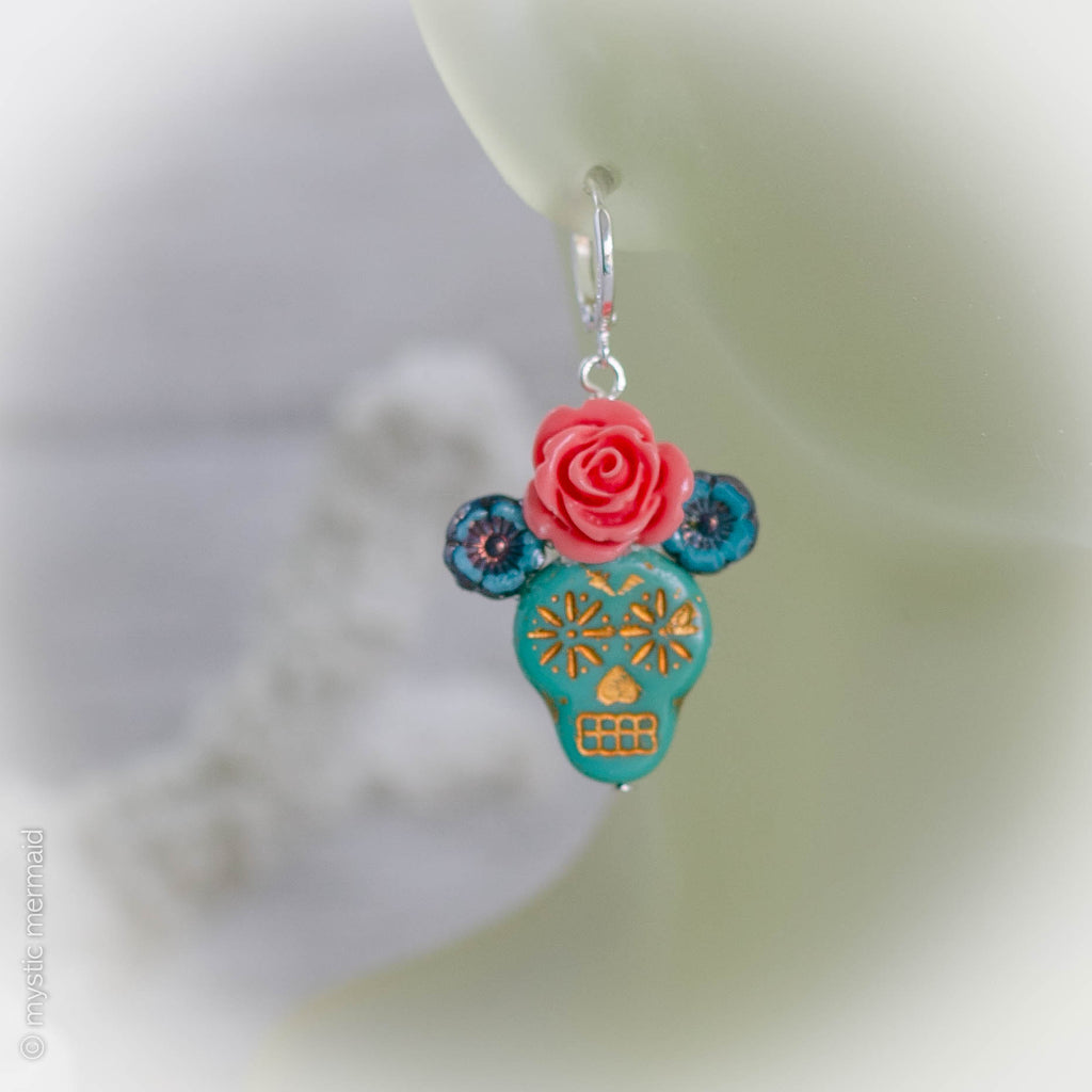 Day of The Dead Dia de Muertos Turquoise Sugar Skull Earrings