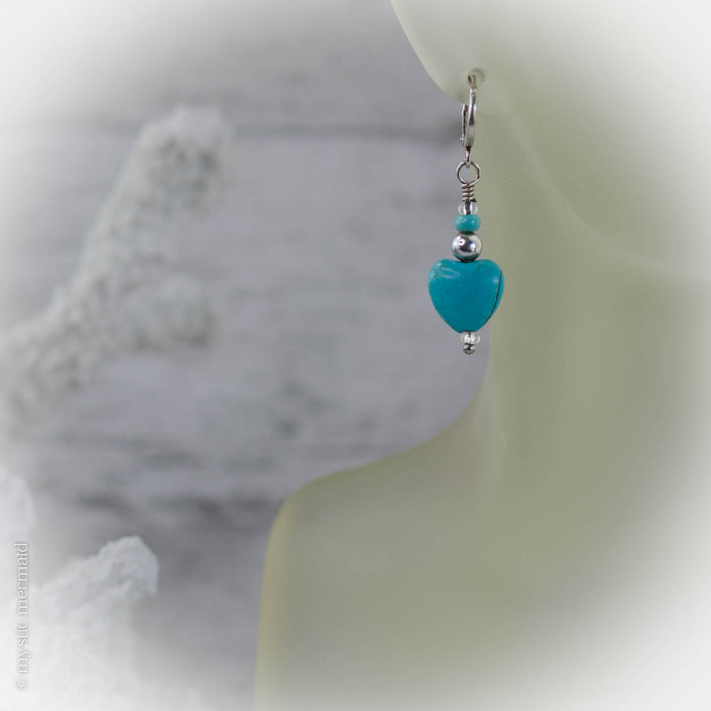 Turquoise Love 925 Sterling Silver Sleeper Leverback earrings