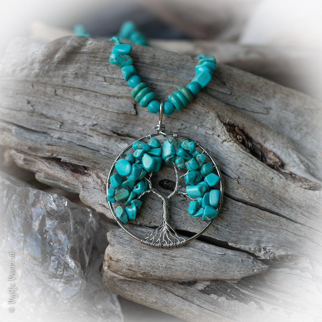 Turquoise Howlite Tree of Life necklace
