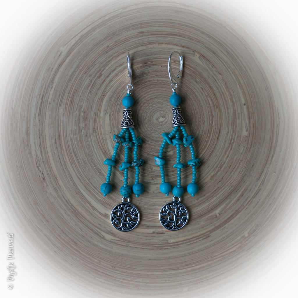 Turquoise Howlite Tree of Life tassel 925 Sterling Silver earrings
