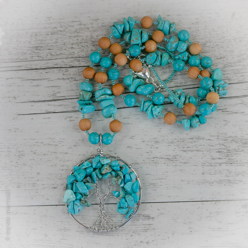 Turquoise and Cedarwood Tree of Life Bohemian Necklace