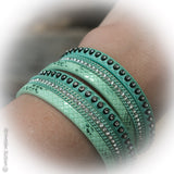 Pistachio Mint Leather Wrap Bracelet