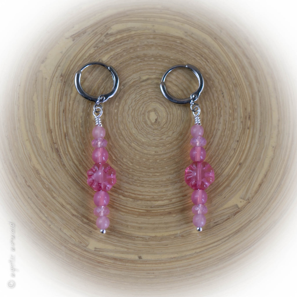 Love me some Pink 925 Sterling Silver Leverback Sleeper Earrings
