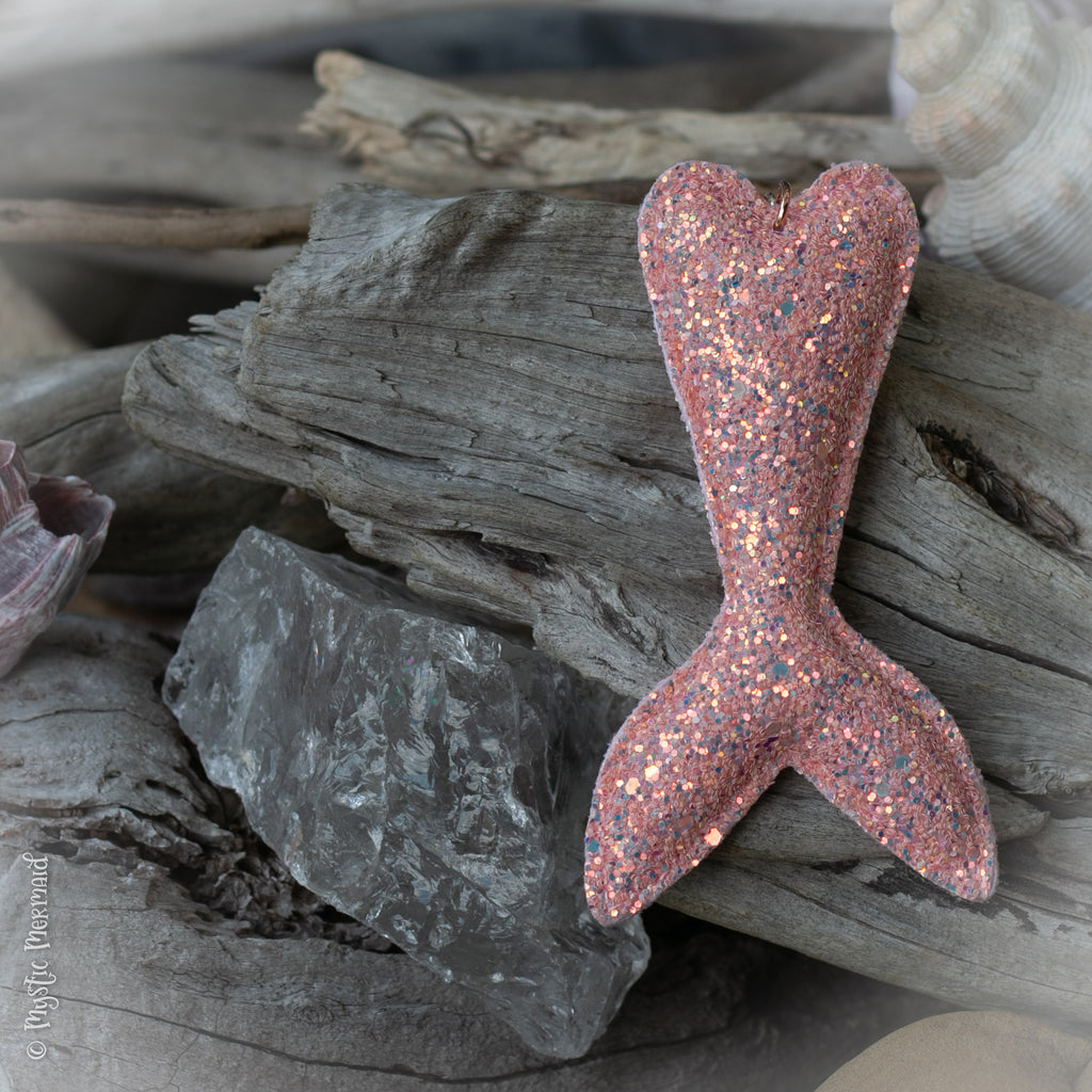 Love the Swim you are in, Coral Pink Sparkle Mermaid Tail Bag Charm