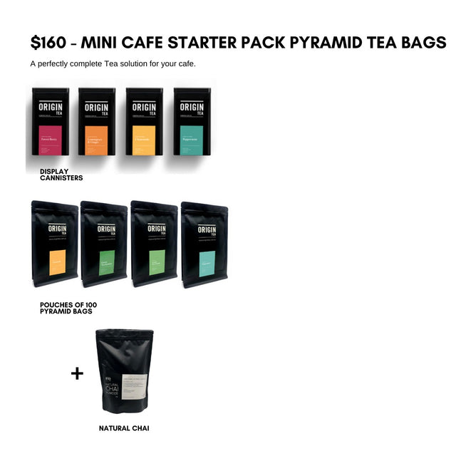 Mini Cafe Starter - Luxury Pyramid Kit Tea Leaves & Tea Bags- Origin Tea