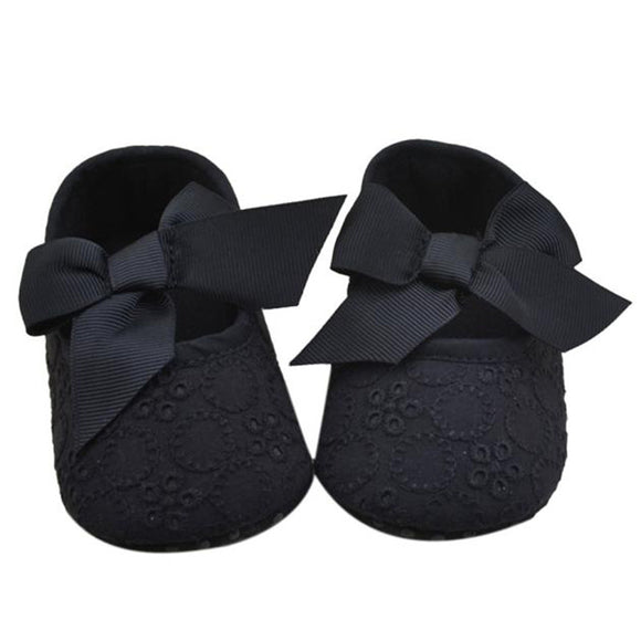 Girl Baby Shoes Cotton First Walkers Ribbon Bowknot Soft Bottom Flower Print Butterfly-knot kids shoes Black Pink
