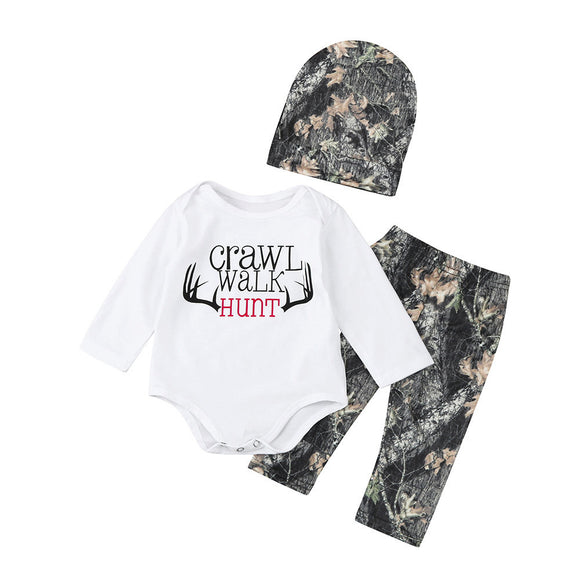 Boy's Long Sleeve Letter Print Romper and Pants With Cap Set