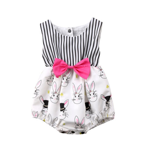 New Girl's Striped and Bunny Print Romper Playsuit With Pink Bow