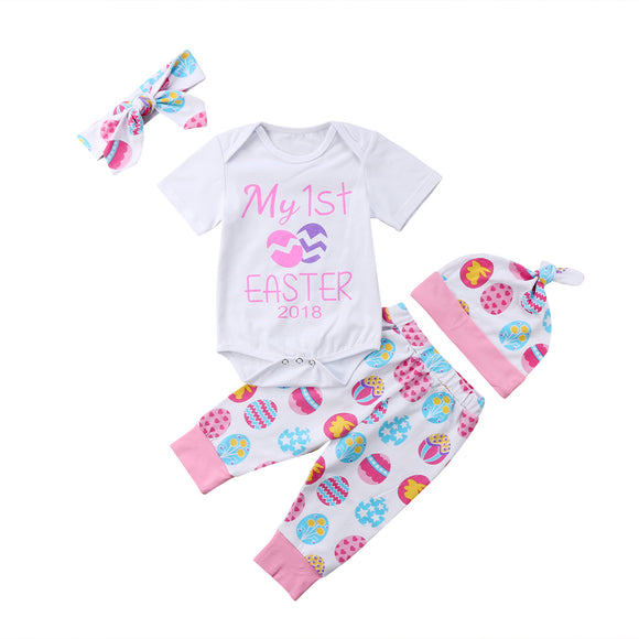 Girl's Easter Romper and Pant Leggings With Hat and Headband 4PC Outfit Set 0-24M