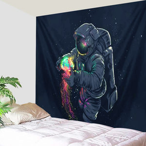 Astronaut's Glowing Treasure Tapestry