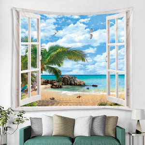 Ocean View Window Tapestry