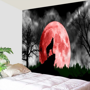 Blood Moon Wolf Howl Tapestry