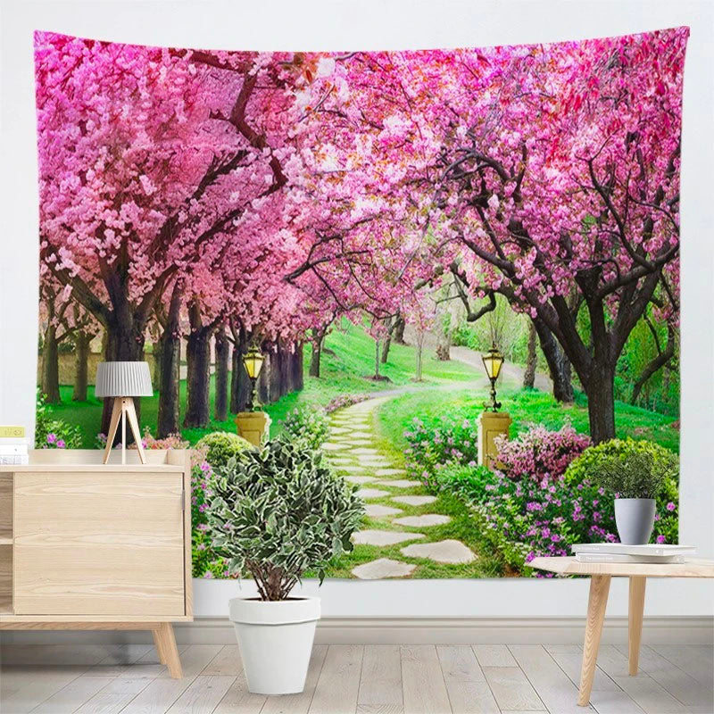 Cherry Blossom Path Tapestry
