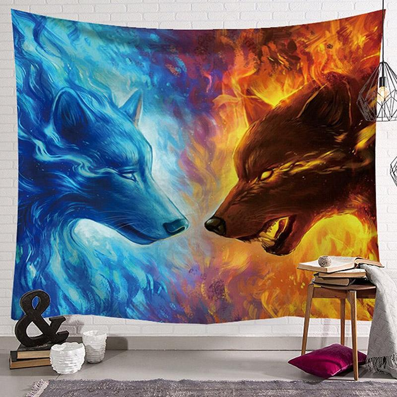 Ice Wolf Versus Fire Wolf Tapestry