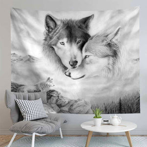 Wolf's Embrace Tapestry
