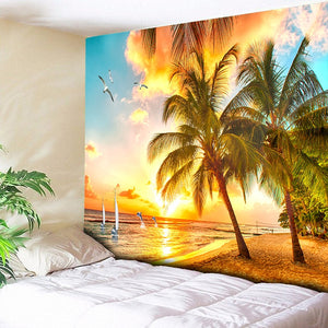 Golden Palm Beach Tapestry