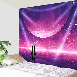 Purple Moon Romance Tapestry