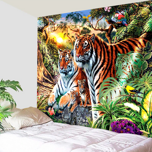 Couple Tiger In The Wild Forest Tapestry