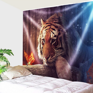 Tiger And Fire Butterfly Tapestry