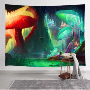 Two Different Mushroom Worlds Tapestry