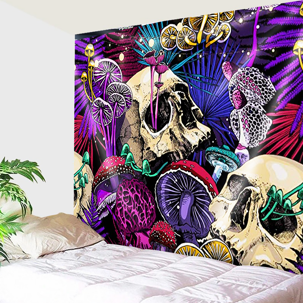 Vibrant Skulls And Mushrooms Tapestry