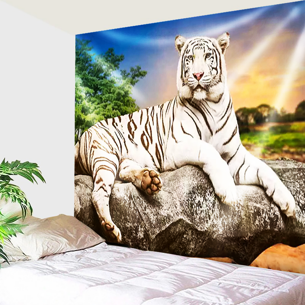 White Tiger Fierce Tapestry