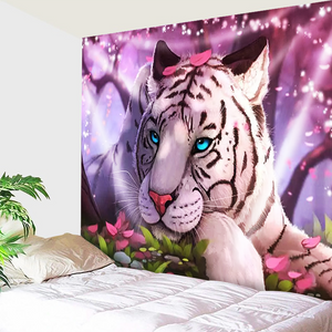 White Tiger Purple Light Tapestry