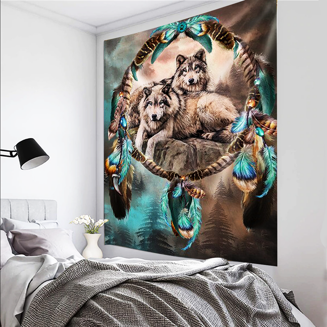 Wolves in Dream Catcher Tapestry