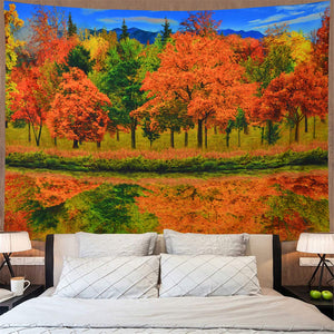 Yellow Green Trees Tapestry