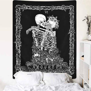 Skull Undying Love Tapestry
