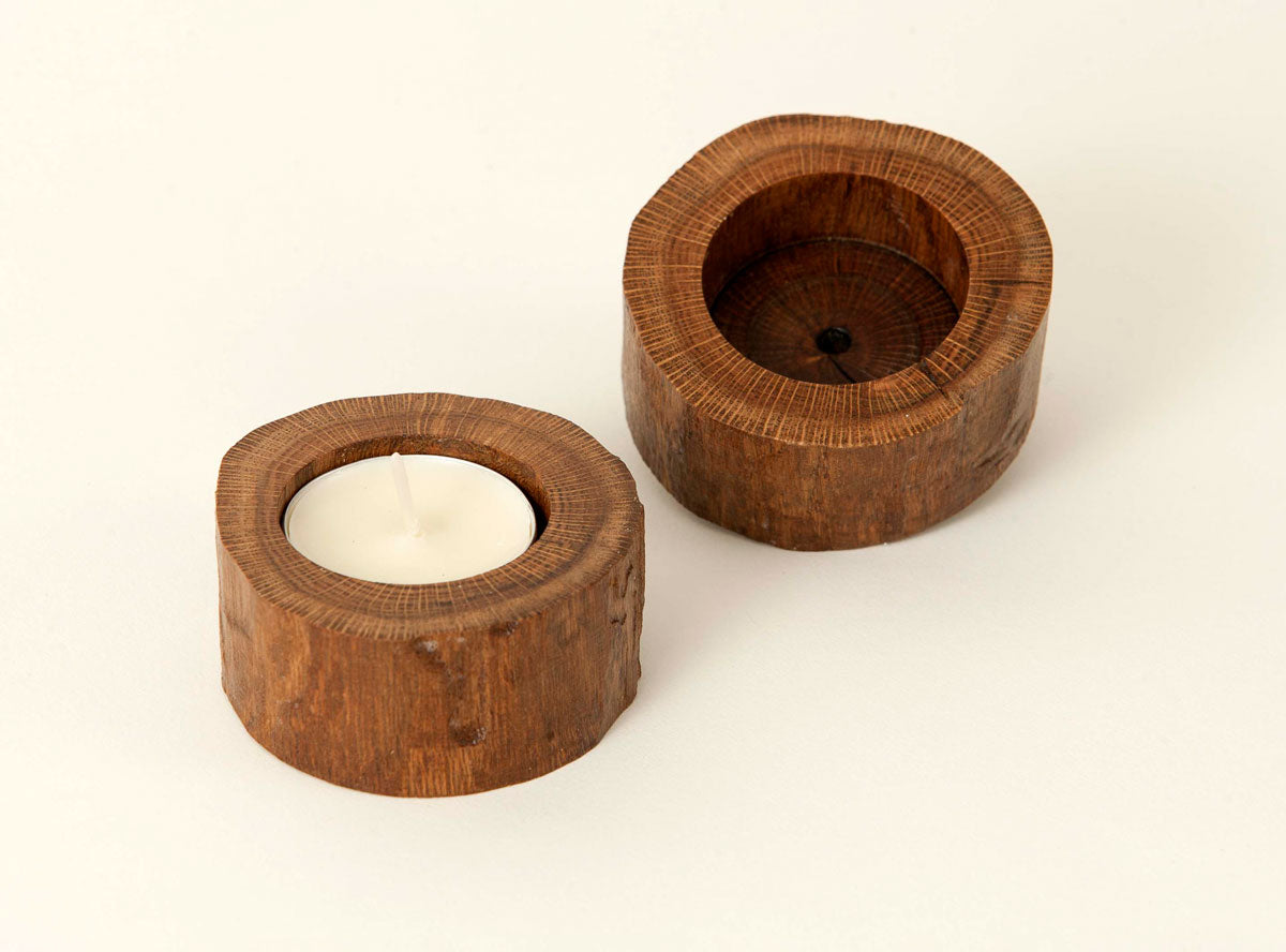 Tealight Candle Holder-Natural Wood
